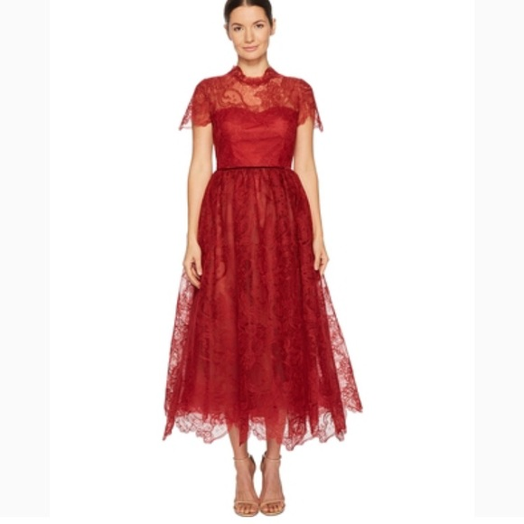 ade09b2b Marchesa Dresses | Notte Short Sleeve Wired Lace Tea Length | Poshmark